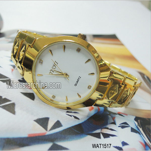 Top quality quartz stainless steel golden watch