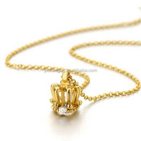 Tiny Gold Crown Pendant Necklace Stainless Steel with Cubic Zirconia and 20 Inches Chain