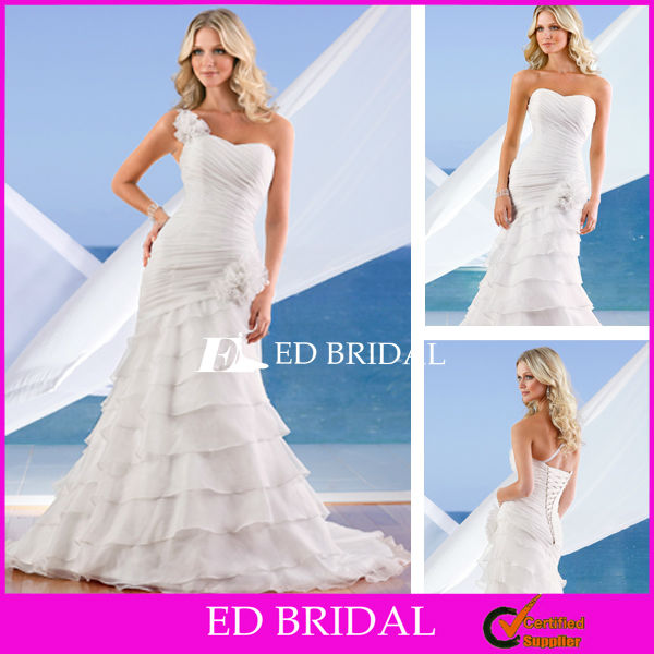 Stylish Trumpet Mermaid Ruched Layered White Organza Detachable One Shoulder Bridal Gowns One Flower Strap Wedding Dress