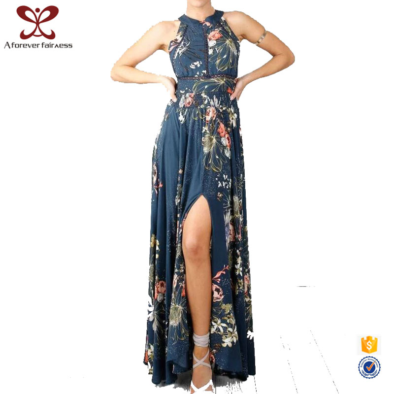 A Forever Fairness Lady Hanging Neck Halter Printing Elegant Long Evening Dress