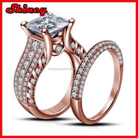 Newest rose gold wedding ring set princess cut heart white sapphire cz paved crown wedding ring for women