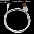 1meter 3ft Two sides 2 in 1 usb data cable for iphone 6 and micro android devices