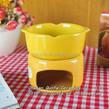 Colored glaze ceramic chocolate heating bowl casserole with stand