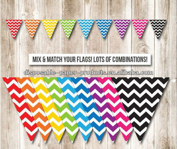 Rainbow Chevron Flag Bunting Banner SUPER Pack - perfect for art party, rainbow party, decorations