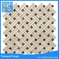 Basketweave shaped marble mosaic tile for home decoration