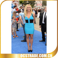 2014 v neck bandage cocktail dresses short royal blue without sleeves