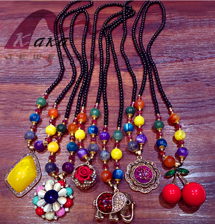Colorful different element necklace pearl bead decorate sweater chain hot sale winter for women