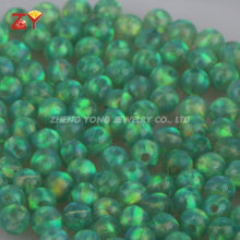 Man Made Opal Beads with Full Hole 2mm Green Color Play Synthetic Opal Gemstone