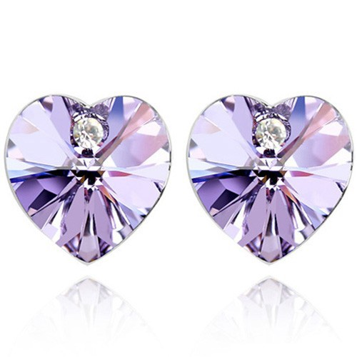 birthstone heart designs made with Swarovski elements crystal heart stud earrings