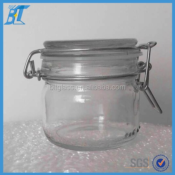 200ml 500ml Clip top Glass Jar for Food with Stainless steel Clamp Lid