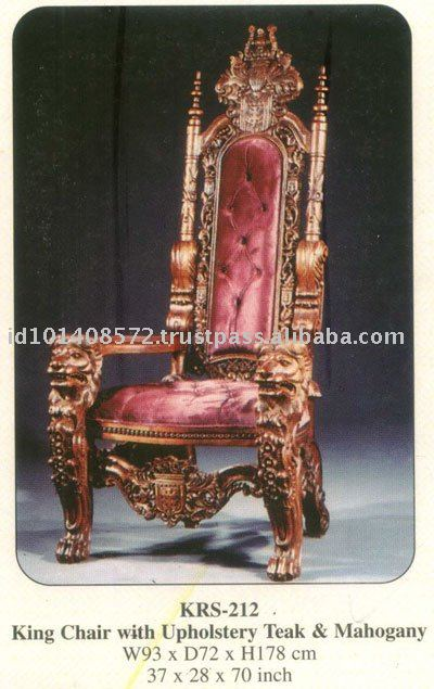 King Chair with Upholstery Mahogany Indoor Furniture