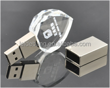 Fashionable wohlesale crystal glass bulk usb flash drive 1gb/2gb/4gb/8gb