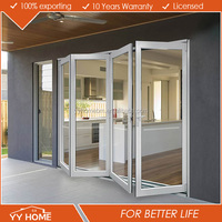 YY Home economic soundproof aluminum double glass folding sliding doors