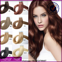 High quality 100% remy human hair double weft 18 20 22 inch invisible any color balayage tape hair extension