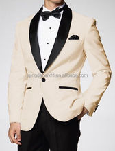 good quality ivory wedding uniform new custom designs 2017 single button wedding dress suits for men with shawl lapel