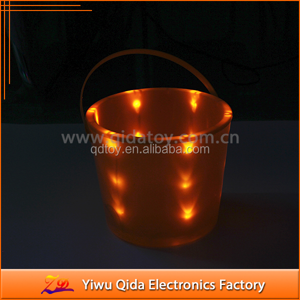 wholesale cheap orange glowing led lighting bucket haloween flashing LED bucket
