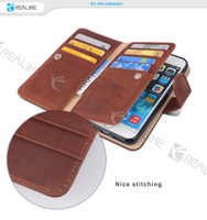 High quality safety belt nice stitching card cash slot strong magnetic flip leather case for iphone 6 wallet case