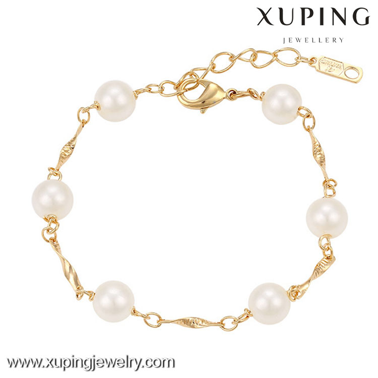 73838 New arrival xuping fashion 18k gold color charm pearl jewelry bracelet