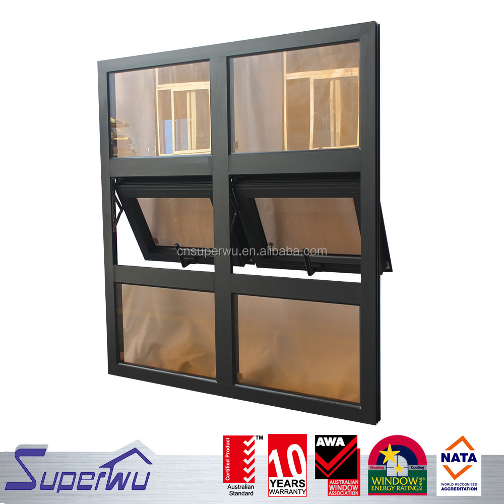 Superwu brand black color aluminum frame awning window with AS2047 standard