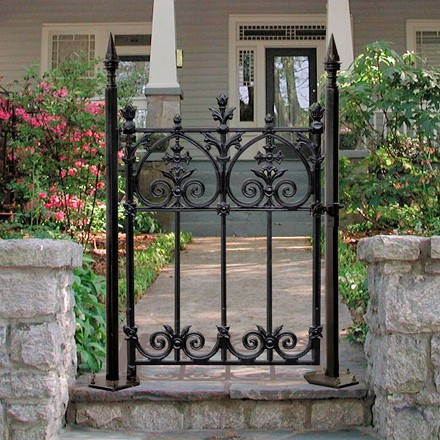 Single prehung panel wrought iron style small garden gate for Garden door designs