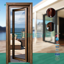 Double glass Aluminum french glass doors latest design wooden doors