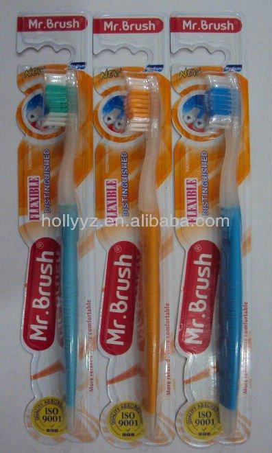 High quality adult daily use tooth brush made in china with transparent rubber