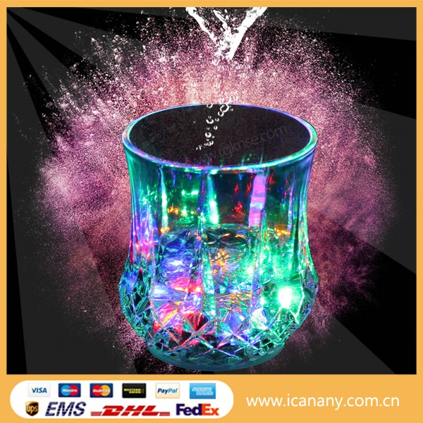 Hot sale 2015 bar accessories party favor Liquid induction Glass Led Flashing cup light up glowing LED cup