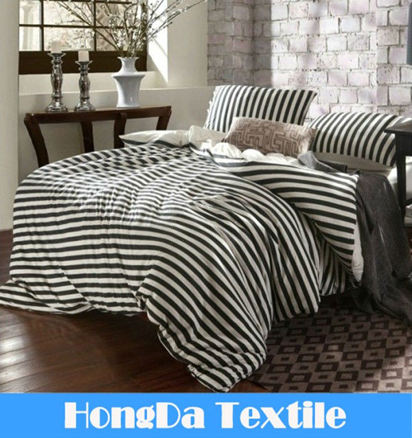 100%cotton white and black striped jersey knit sheet sets