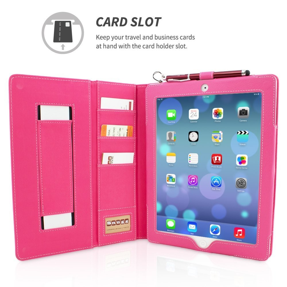 2018 High Quality Executive Portfolio Smart Cover With Card Slots & Lifetime Guarantee (Hot Pink Leather) for Apple iPad Pro