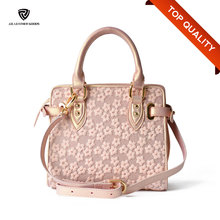 Pink Embroidered Pearlescent Leather Designer Woman Fashion Handbag