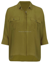 Solid Color Autumn New Woman Shirt in Olive