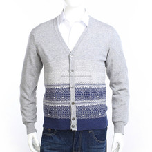 6 buttons men's jacquard cardigan 100% pure cashmere