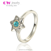 Newest Design Fine Jewelry14K Gold plated Sterling Silver CZ Star Ring