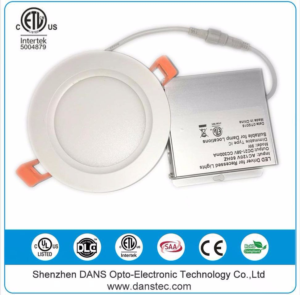 Danstec cETL ETL recessed 12w round led panel ceiling light RoHS C-tick ultra slim dimmable downlight with IC rated junction