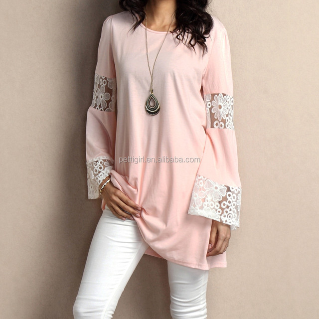 New Style Women Tops With Pink Lace Bell-Sleeve Tunic Women Blouse Women Clothing GD90426-15
