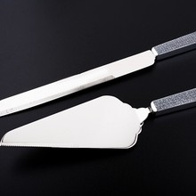 stainless steel wedding cake knife server set with zinc alloy handle