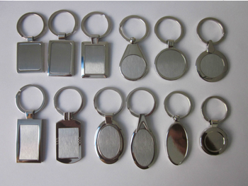 Wholesale various shaped keychain blank metal souvenir key chain shiny silver zinc alloy mock up key ring