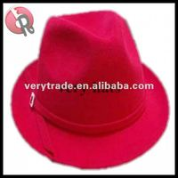 wool felt red fedora hat