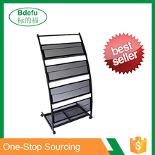 4 shelf Metal Mobile Black Literature Magazine Display Racks Modern Brochure Holder
