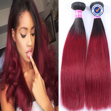 cheap silky straight 2 tone colored ombre 3 bundles red brazilian hair weave