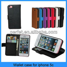 New Premium Genuine Leather Credit ID Card Wallet flip Case For iPhone 5C (PT-I5CL204)