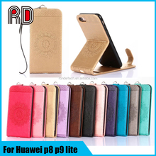 Sunflower Mandala embossing up-down opened flip stand leather case cover for huawei p8 lite p9 lite