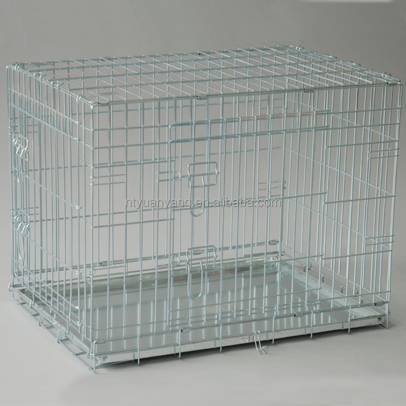 Silver folding sliver metal wire dog kennel with bed manufacturer