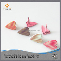 Colorful various heart shaped decorative metal brads
