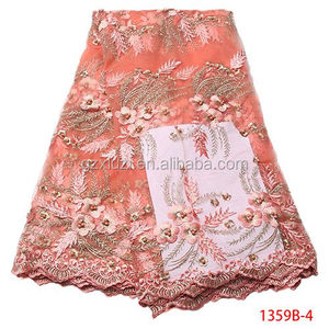 Korean Style 3d Flower Stones And Beaded Lace Fabric African French Tulle Lace Fabric XZ1359