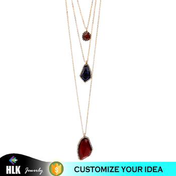 Latest Design Beads Pendant Necklace Accesories for Woman Multi Color Irregular Simple Stone Gemstone Necklace