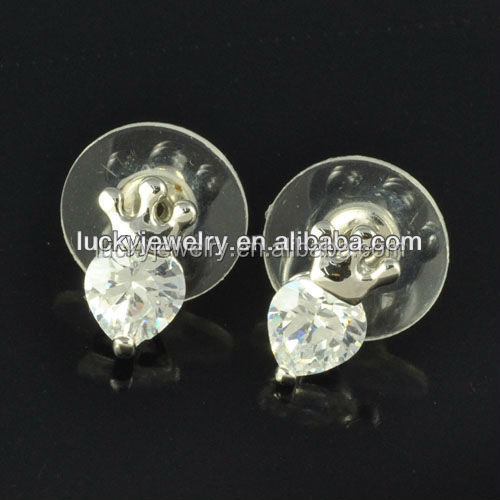 Serling Silver Jewelry Made In Korea Fancy Stud Earring Crowm Style With White Big Stone For Girl