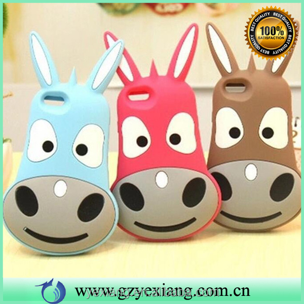 3d cute burro animal silicon back cover case for iphone 6s rubber gel case