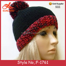 F-1761 new black and red winter oem beanie hat knitted ski hats for women