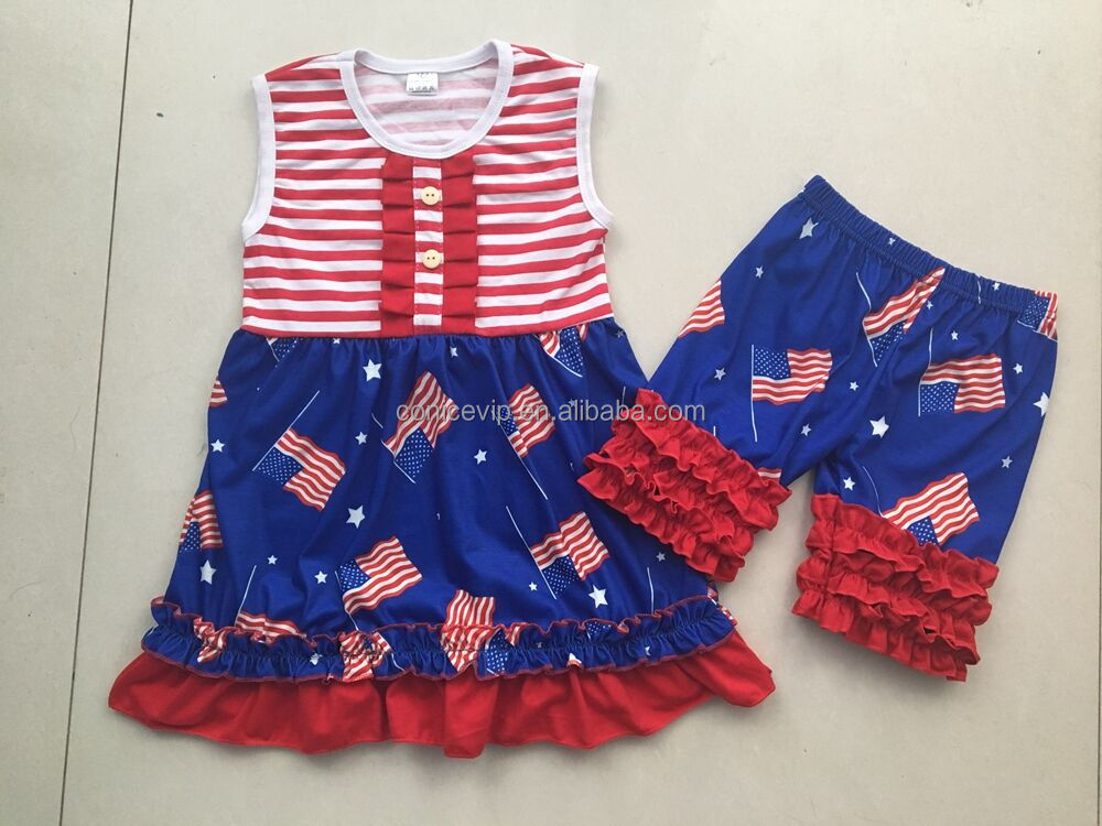 Fashion Navy fourth of july clothing set baby ruffle outfit children boutique clothing with light blue capri pants